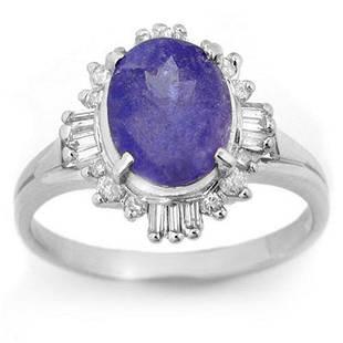 3.03 ctw Tanzanite & Diamond Ring 18k White Gold -