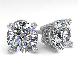 3 ctw Certified VS/SI Diamond Stud Earrings 18K White