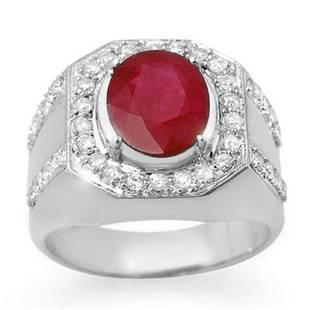 4.75 ctw Ruby & Diamond Men's Ring 10k White Gold -