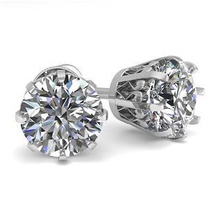 2.0 ctw VS/SI Diamond Stud Earrings Vintage 18k White