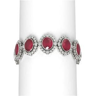 50.03 ctw Ruby & Diamond Bracelet 18K White Gold -
