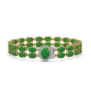 29.82 ctw Jade & Diamond Bracelet 14K Yellow Gold -