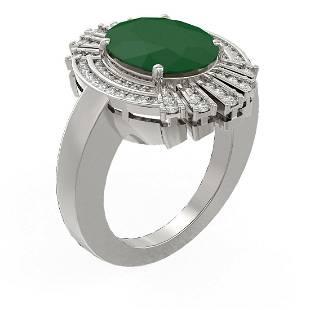 7.72 ctw Emerald & Diamond Ring 18K White Gold -