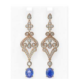 11.37 ctw Tanzanite & Diamond Earrings 18K Rose Gold -