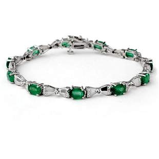 6.11 ctw Emerald & Diamond Bracelet 14k White Gold -