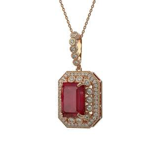 11.99 ctw Certified Ruby & Diamond Victorian Necklace