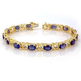 12.05 ctw Tanzanite & Diamond Bracelet 10k Yellow Gold