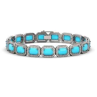 23.66 ctw Turquoise & Diamond Micro Pave Halo Bracelet