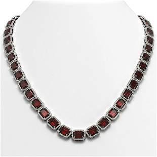 60.59 ctw Garnet & Diamond Micro Pave Halo Necklace 10k