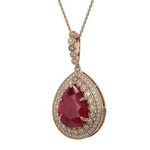 15.87 ctw Certified Ruby & Diamond Victorian Necklace
