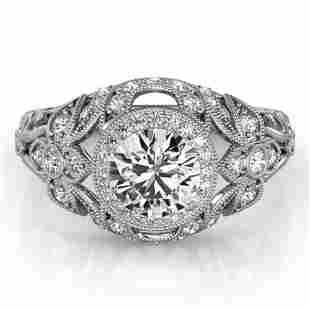 1.25 ctw Certified VS/SI Diamond Antique Ring 18k White