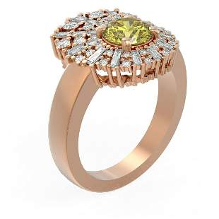 2.58 ctw Fancy Yellow Diamond Ring 18K Rose Gold -