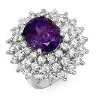 12.50 ctw Tanzanite & Diamond Ring 18k White Gold -