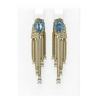 7.74 ctw Blue Topaz & Diamond Earrings 18K Yellow Gold
