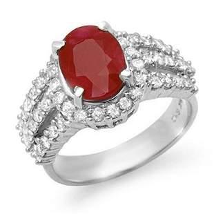 4.70 ctw Ruby & Diamond Ring 18k White Gold -