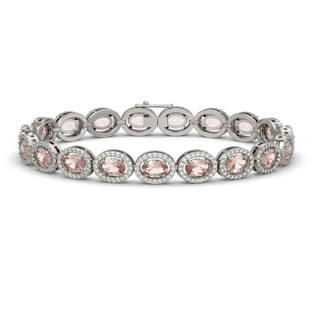14.25 ctw Morganite & Diamond Micro Pave Halo Bracelet
