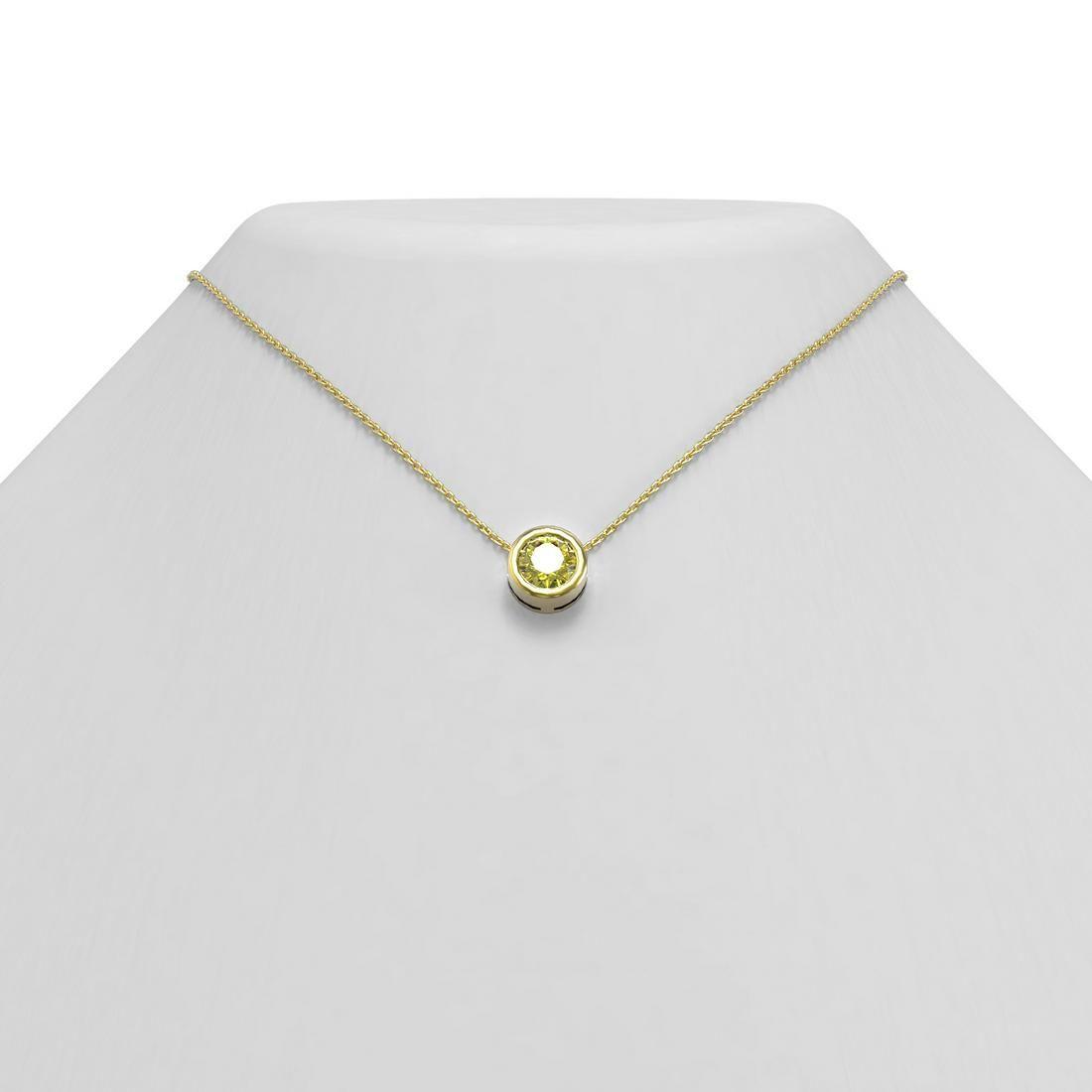 1 ctw Fancy Yellow Diamond Necklace 18K Yellow Gold -