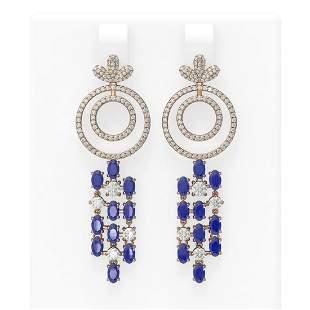 11.72 ctw Sapphire & Diamond Earrings 18K Rose Gold -
