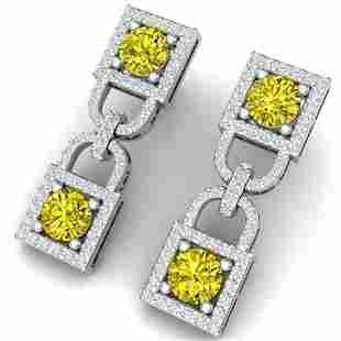 4 ctw SI/I Fancy Yellow Diamond Earrings 18K White Gold
