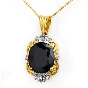 8.59 ctw Blue Sapphire & Diamond Pendant 14k Yellow