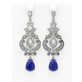 12.64 ctw Sapphire & Diamond Earrings 18K White Gold -