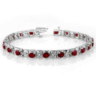 6.09 ctw Ruby & Diamond Bracelet 14k White Gold -