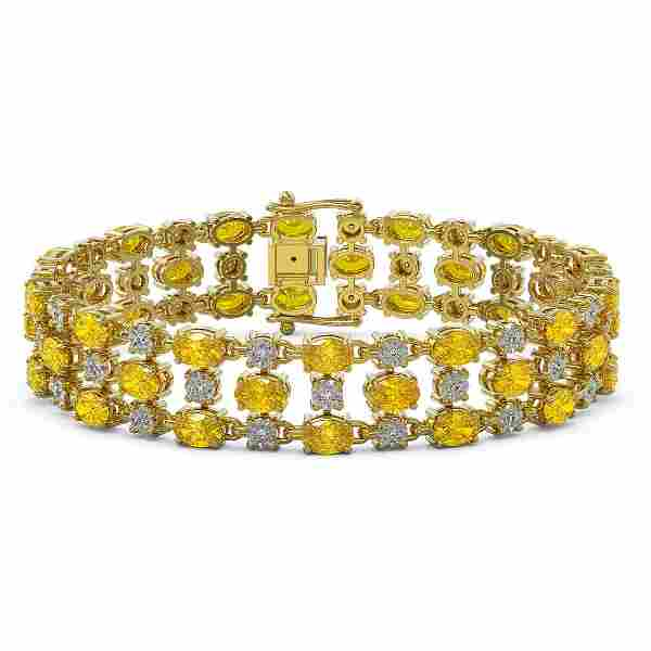 12.7 ctw Fancy Citrine & Diamond Row Bracelet 10K