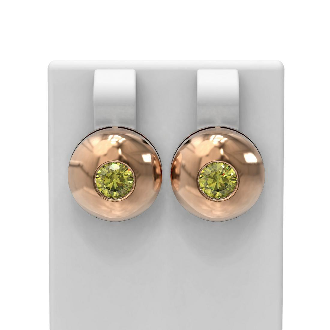 1.04 ctw Fancy Yellow Diamond Earrings 18K Rose Gold -