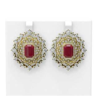 18.43 ctw Ruby & Diamond Earrings 18K Yellow Gold -