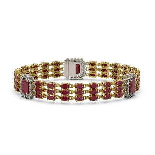 29.64 ctw Ruby & Diamond Bracelet 14K Yellow Gold -