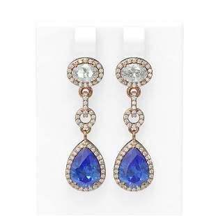 7.82 ctw Tanzanite & Diamond Earrings 18K Rose Gold -