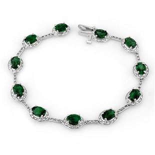 10.40 ctw Emerald & Diamond Bracelet 14k White Gold -
