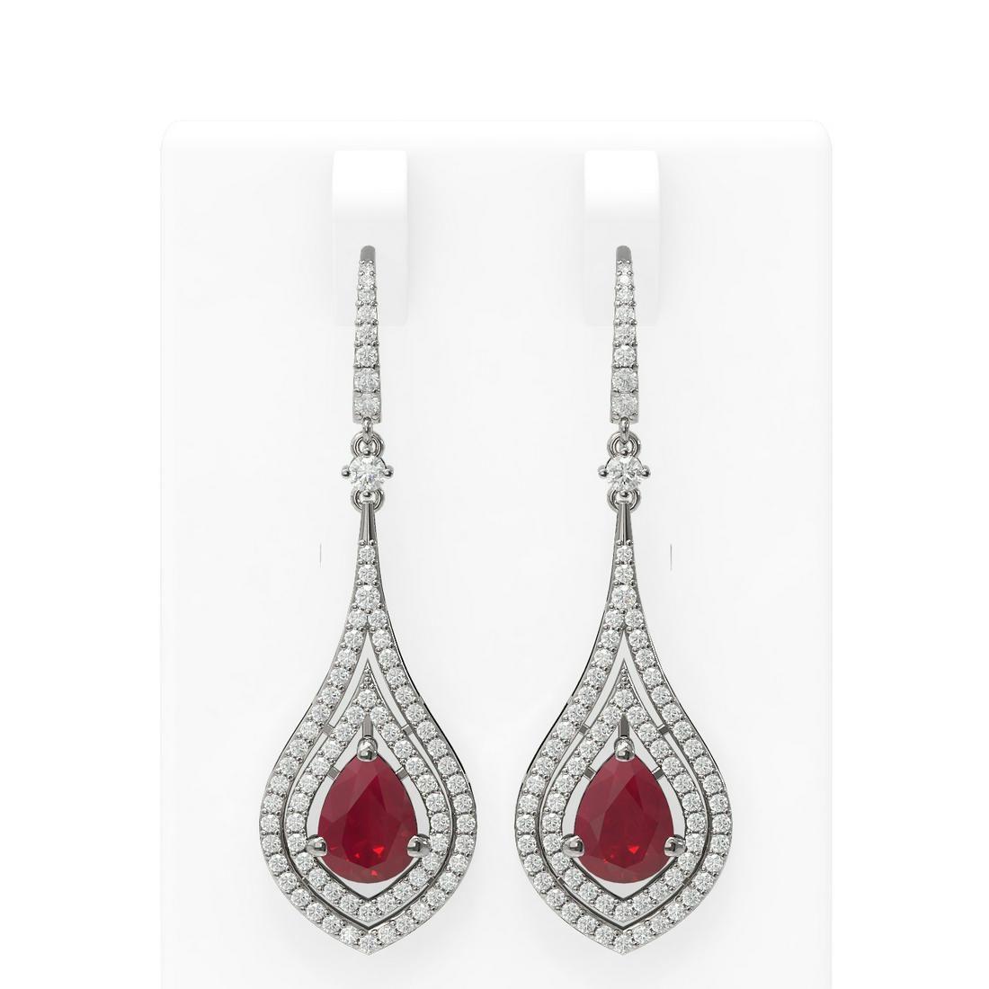 11.35 ctw Ruby & Diamond Earrings 18K White Gold -