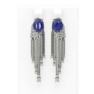 9.24 ctw Sapphire & Diamond Earrings 18K White Gold -