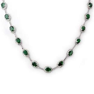21.0 ctw Emerald & Diamond Necklace 10k White Gold -