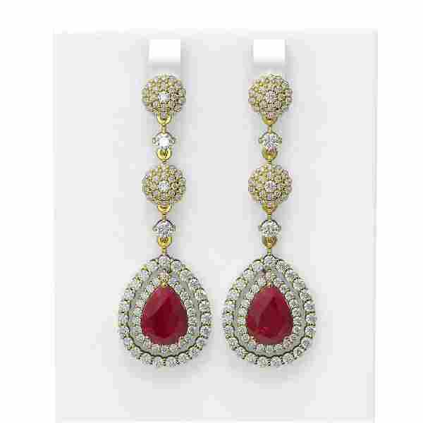 11.87 ctw Ruby & Diamond Earrings 18K Yellow Gold -