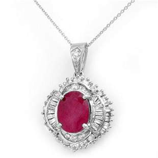 6.26 ctw Ruby & Diamond Pendant 18k White Gold -