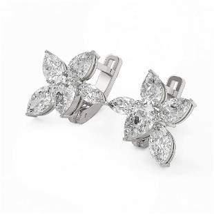 4.82 ctw Pear & Marquise Cut Diamond Earrings 18K White