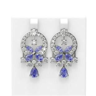 15.33 ctw Tanzanite & Diamond Earrings 18K White Gold -
