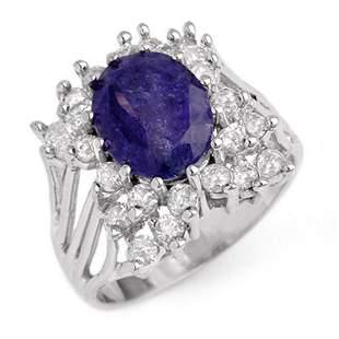4.44 ctw Tanzanite & Diamond Ring 14k White Gold -