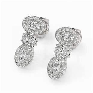 2 ctw Oval & Marquise Cut Diamond Earrings 18K White