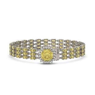 25.15 ctw Citrine & Diamond Bracelet 14K White Gold -