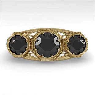 2 ctw Past Present Future Black Diamond Ring Art Deco