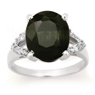 6.58 ctw Blue Sapphire & Diamond Ring 10k White Gold -
