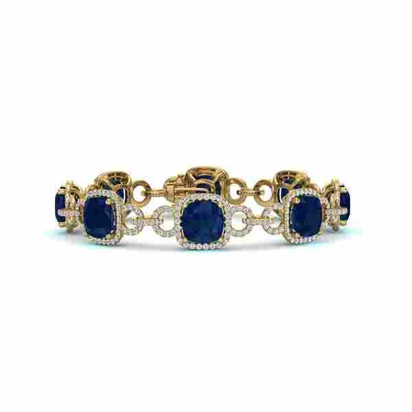 25 ctw Sapphire & VS/SI Diamond Certified Bracelet 14K