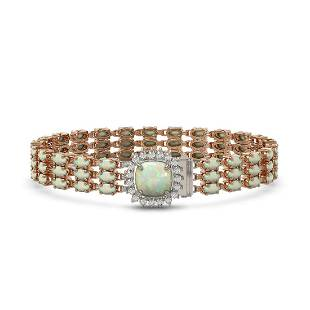 24.2 ctw Opal & Diamond Bracelet 14K Rose Gold -