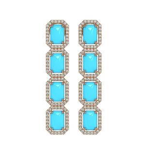 11.13 ctw Turquoise & Diamond Micro Pave Halo Earrings