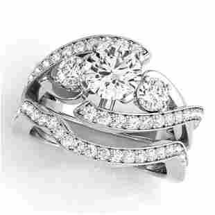 2.04 ctw Certified VS/SI Diamond Bypass 2pc Wedding Set