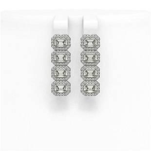 4.52 ctw Emerald Cut Diamond Micro Pave Earrings 18K