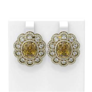 11.21 ctw Canary Citrine & Diamond Earrings 18K Yellow